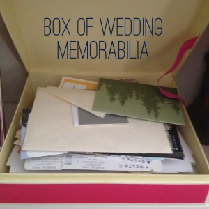 Box of wedding memorabilia, including honeymoon boarding passes